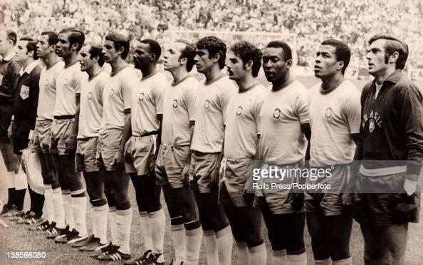 The Brazilian team prior to the World Cup Final against Italy in Mexico City 21st June 1970 leftright Carlos Alberto Brito Gerson Clodoaldo Everaldo...