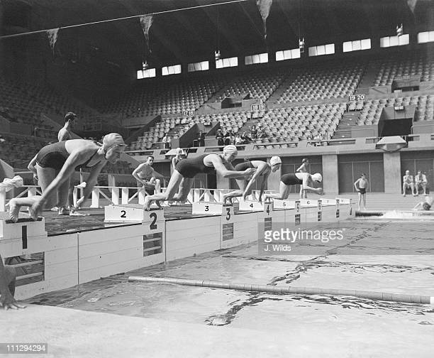 The Brazilian women's swimming team train at Wembley for the Olympic games 27th July 1948