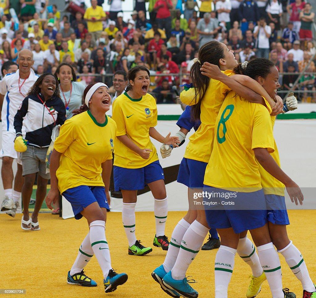 The Brazilian Women's Team Celebrate Winning The Women's