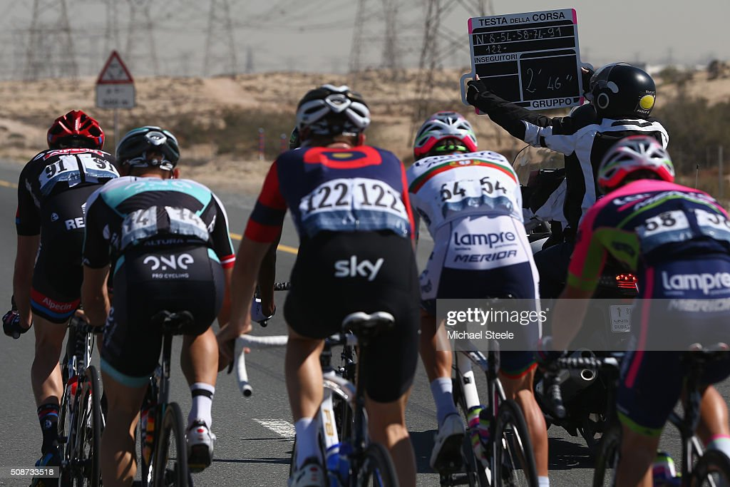 The breakaway group are shown the board indicating their lead during the Business Bay Stage Four of the Tour of Dubai on February 6, 2016 in Dubai, United Arab Emirates.