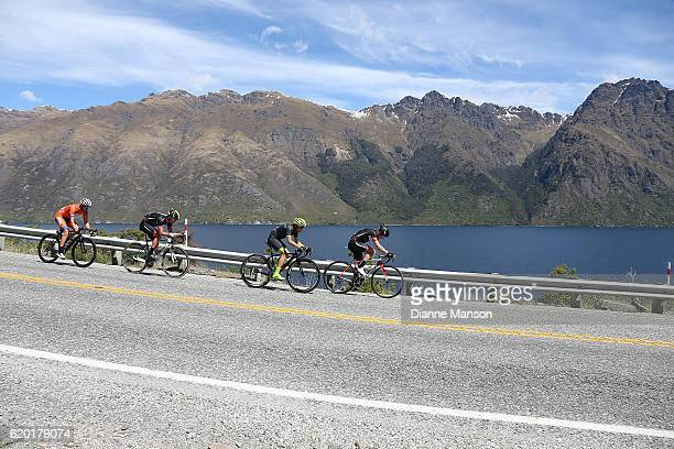 The breakaway group heads round the Devil's Staircase towards Coronet Peak from Mossburn during stage three of the 2016 Tour of Southland on November...
