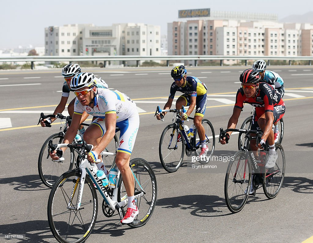 The breakaway group in action during stage five of the Tour of Oman from Al Alam Palace to the Ministry of Housing in Boshar on February 15, 2013 in Boshar, Oman.