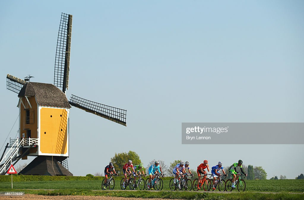 The breakaway group in action during the 49th edition of the Amstel Gold Race on April 20, 2014 in Maastricht, Netherlands. The 251km route from Maastricht to Valkenburg, sees riders tackling 34 climbs on the way to the finish.