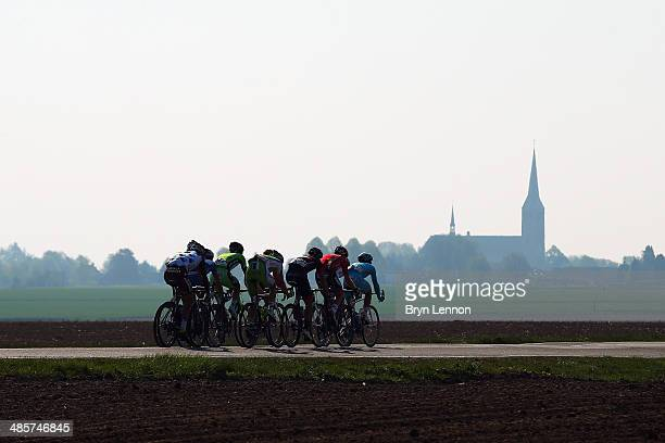 The breakaway group in action during the 49th edition of the Amstel Gold Race on April 20 2014 in Maastricht Netherlands The 251km route from...