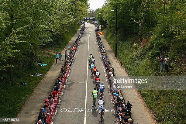 The breakaway group in action onthe Cauberg during the 49th edition of the Amstel Gold Race on April 20 2014 in Maastricht Netherlands The 251km...