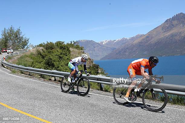 The breakaway group Luke Macpherson and Matt Zenovich of Invercargill make their way round the Devils Staircase on the way to Queenstown in stage...
