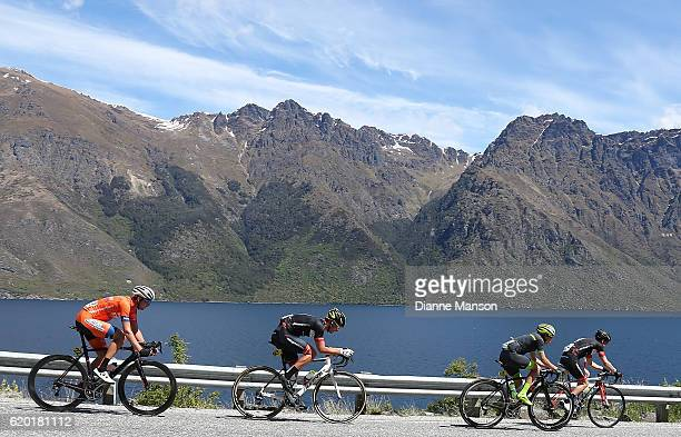 The breakaway group makes its way round the Devil's Staircase towards Coronet Peak from Mossburn during stage three of the 2016 Tour of Southland on...