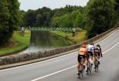 The breakaway group of Mathieu Perget of France and Caisse d�Epargne Sebastian Lang of Germany and Omega PharmaLotto and Ruben Perez Moreno of Spain...