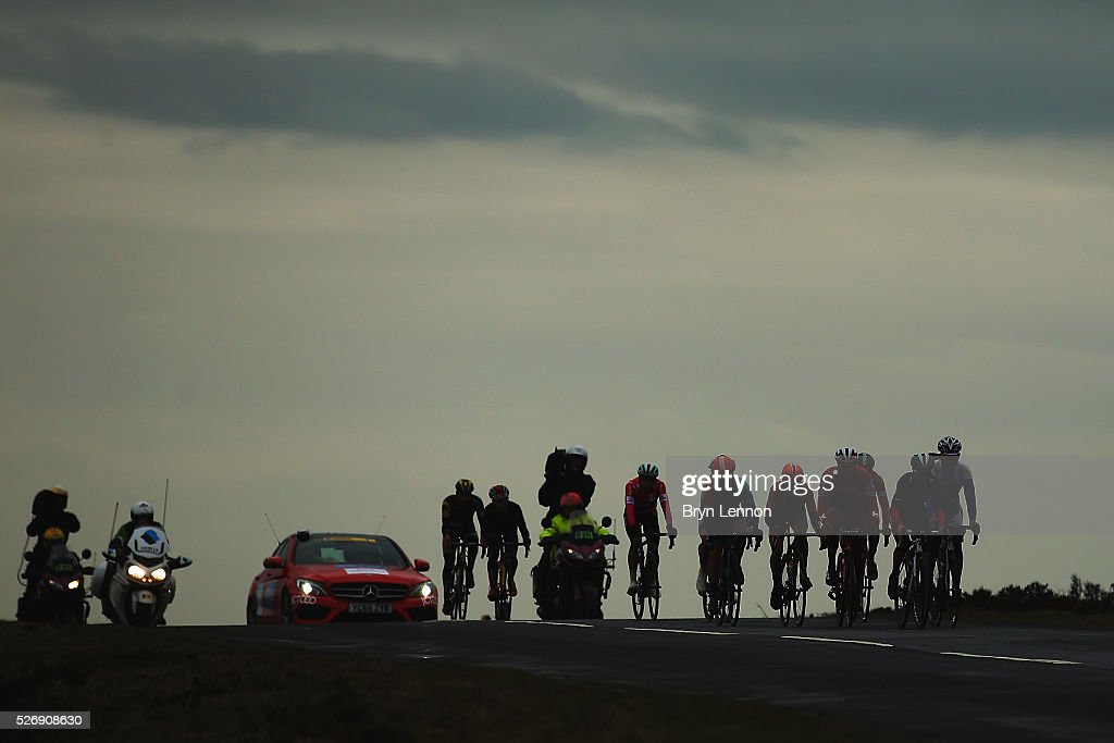 The breakaway group passes over the Yorkshire moors during stage three of the 2016 Tour de Yorkshire from Middlesbrough to Scarborough on May 1, 2016 in Scarborough, England.