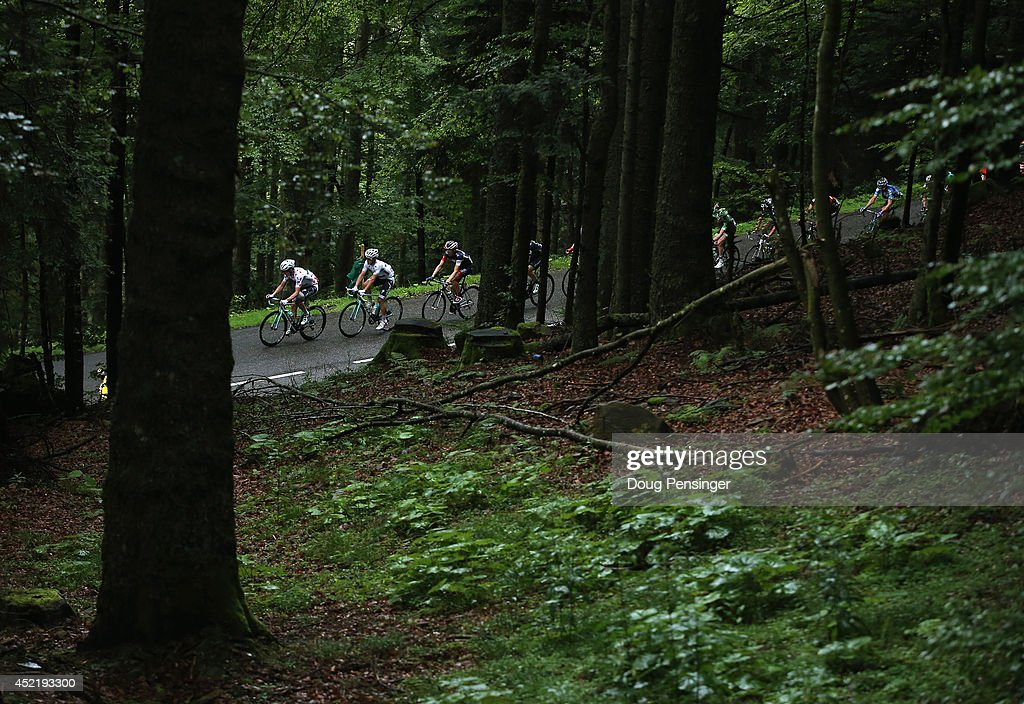 The breakaway makes the climb of the Col du Platzerwasel during stage ten of the 2014 Le Tour de France from Mulhouse to La Planche des Belles Filles on July 14, 2014 in Sondemach, France.