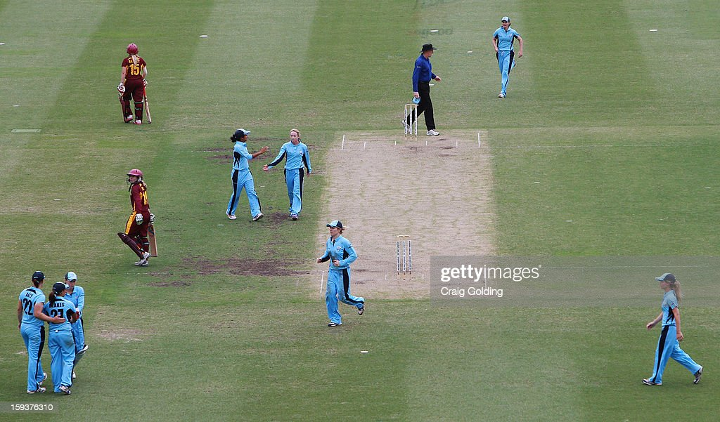 The Breakers celebrate after Jemma Barsby of the Fire is caught by Angela Reakes during the WNCL Final match between the NSW Breakers and the Queensland Fire at the Sydney Cricket Ground on January 13, 2013 in Sydney, Australia.