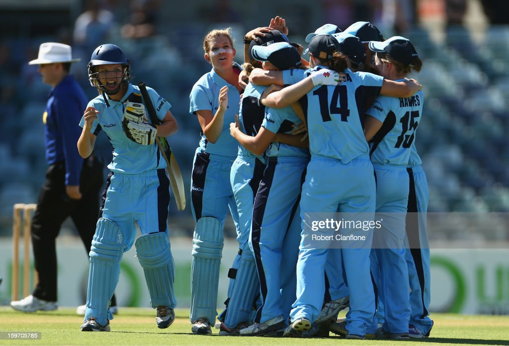 The Breakers celebrate after they defeated the Fury during the women's Twenty20 final match between the NSW Breakers and the Western Australia Fury at the WACA on January 19, 2013 in Perth, Australia.