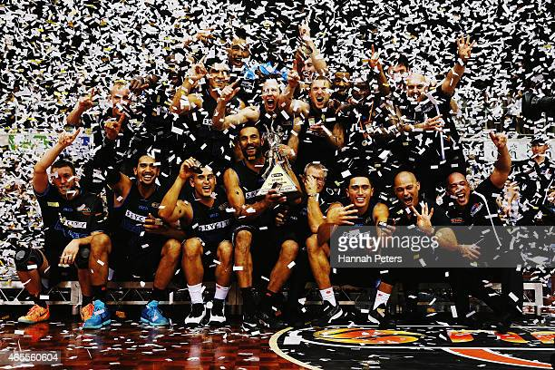 The Breakers celebrate after winning game two of the NBL Grand Final series between the New Zealand Breakers and the Cairns Taipans at North Shore...