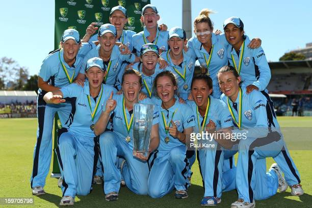 The Breakers celebrate after winning the women's Twenty20 final match between the NSW Breakers and the Western Australia Fury at WACA on January 19...