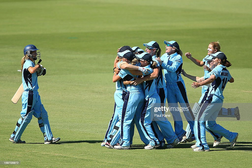 The Breakers celebrate after winning the women's Twenty20 final match between the NSW Breakers and the Western Australia Fury at WACA on January 19, 2013 in Perth, Australia.