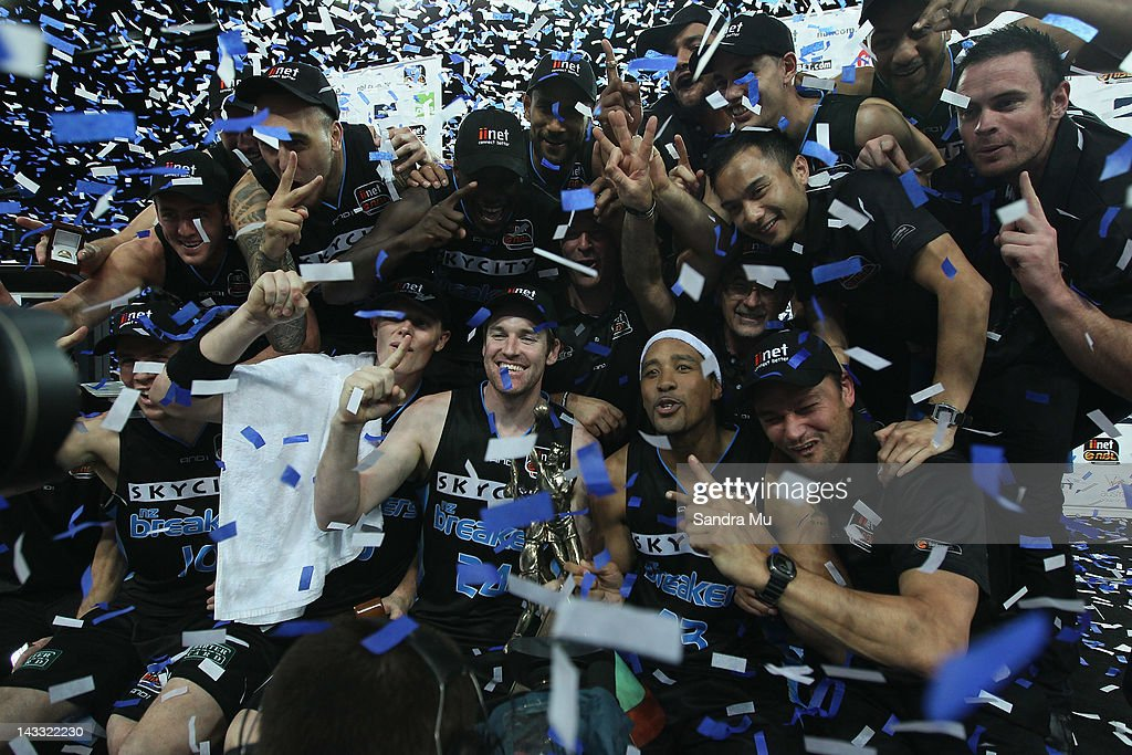 The Breakers celebrate winning game three of the NBL Grand Final series between the New Zealand Breakers and the Perth Wildcats at Vector Arena on...