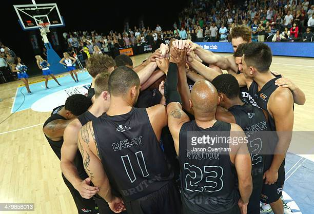 The Breakers form a huddle after losing the round 23 NBL match between the New Zealand Breakers and the Cairns Taipans at Vector Arena on March 21...