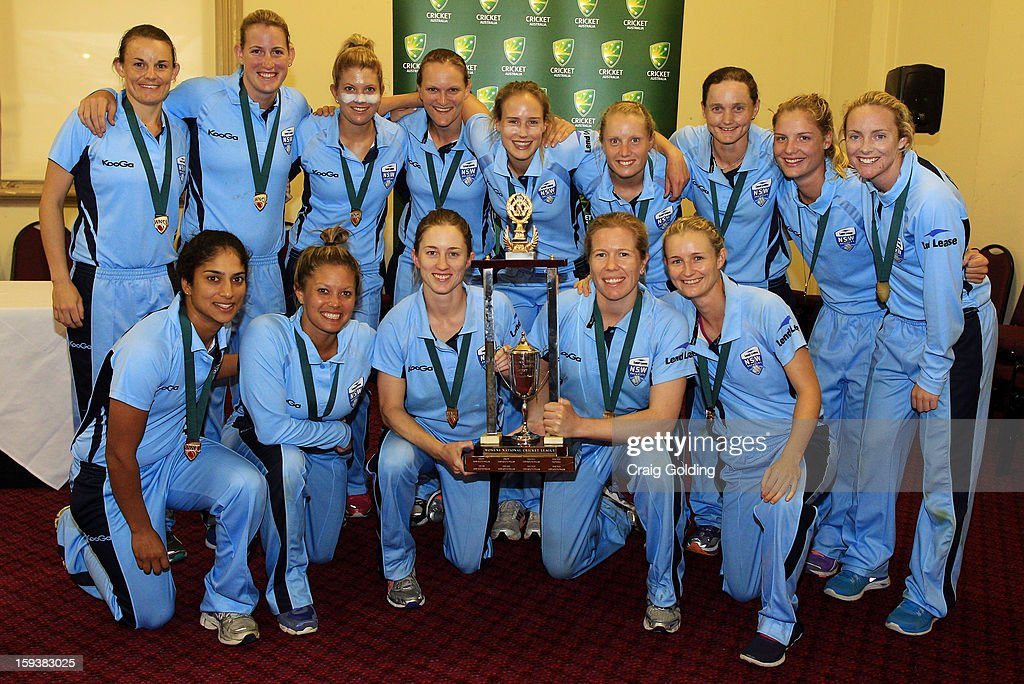 The Breakers pose with the trophy winning the WNCL Final match between the NSW Breakers and the Queensland Fire at the Sydney Cricket Ground on January 13, 2013 in Sydney, Australia.
