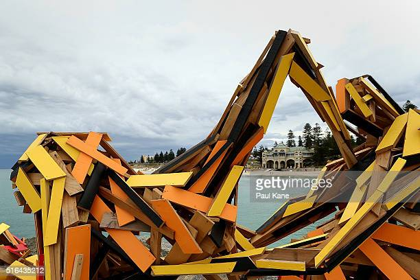 'The Breakwall' by artist Elyssa SykesSmith is seen during Sculpture By The Sea 2016 at Cottesloe Beach on March 19 2016 in Perth Australia