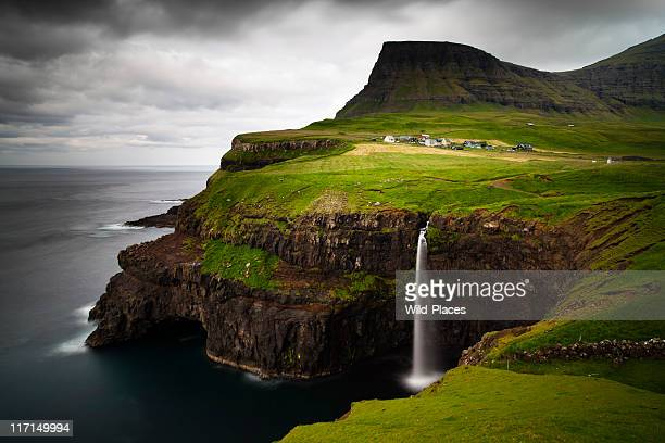 The breath taking view of Gasadalur with a waterfalls