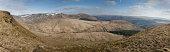 Panorama of part of the Brecon Beacons showing Waun Rhyd, cwar y gigfran, allt lwyd and allt Forgan taken from the op of Craig-Y-Fan Ddu