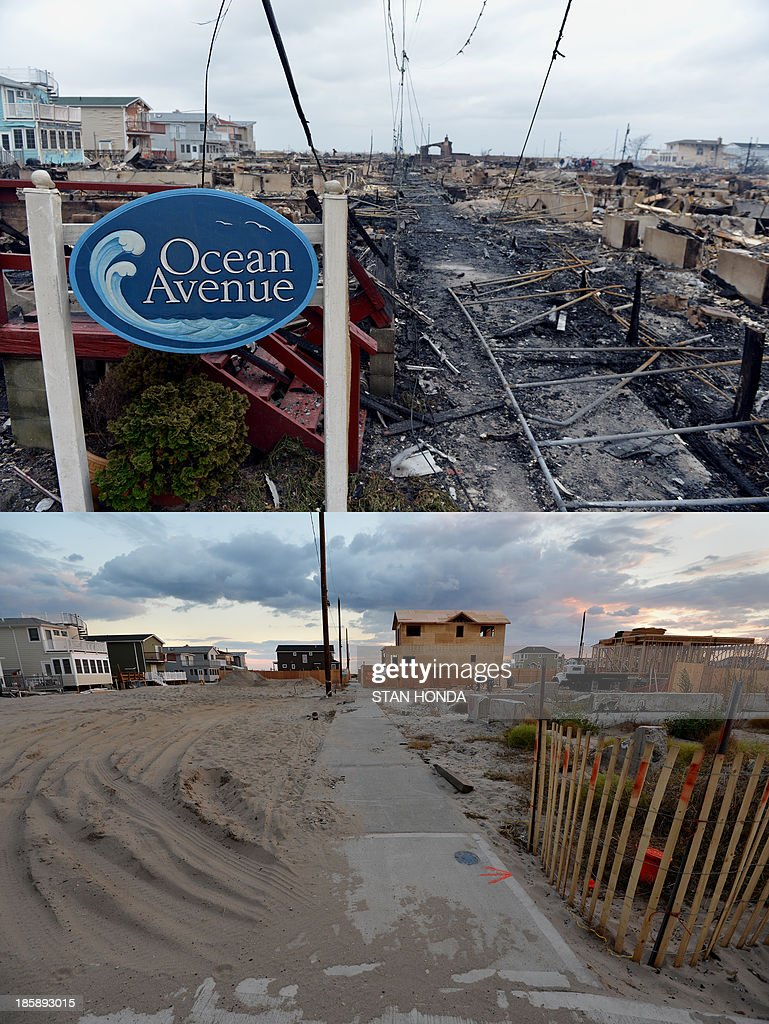 The Breezy Point neighborhood in the Queens borough of New York seen October 24, 2013 (bottom), one year after Hurricane Sandy hit the region and over 100 houses here were destroyed in a fire and on October 30, 2012. Homes are being rebuilt in Breezy Point, which lies adjacent to the Atlantic Ocean. AFP PHOTO/Stan HONDA