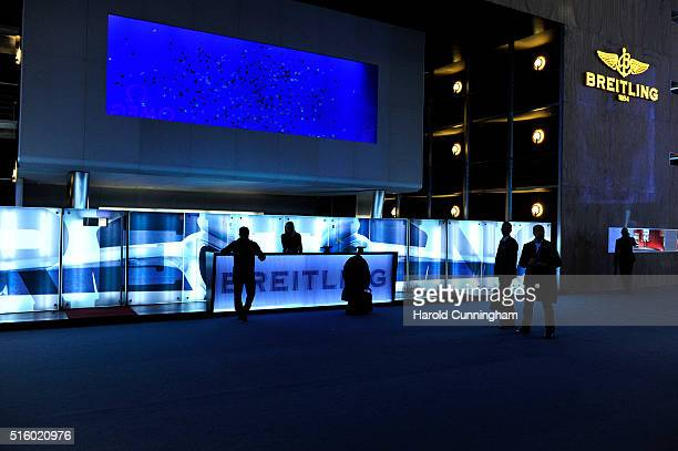 The Breitling booth during Baselworld on March 16 2016 in Basel Switzerland Held annually Baselworld is the most important watch and jewellery...