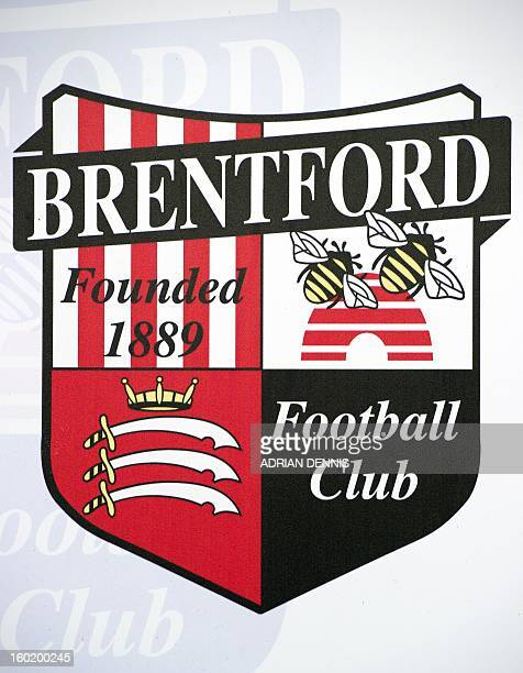 The Brentford FC logo is seen on a turnstile ahead of the game against Chelsea during FA Cup fourth round football match between Brentford and...