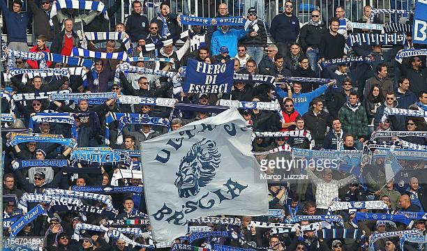 The Brescia Calcio fans show their support during the Serie B match between Brescia Calcio and US Sassuolo at Mario Rigamonti Stadium on November 18...