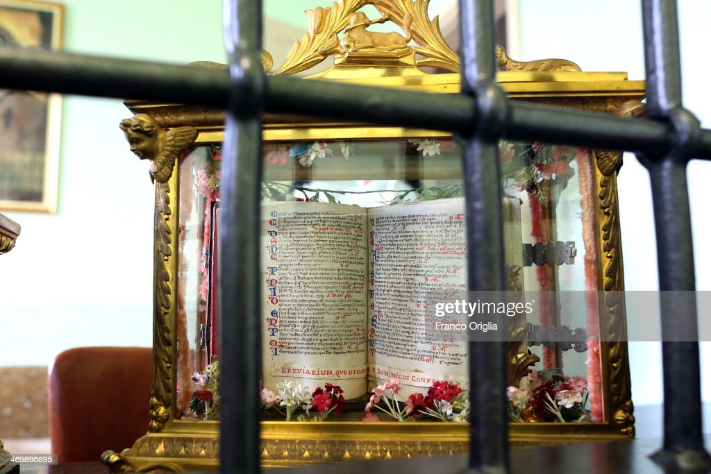 The breviary of Saint Dominic (1170-1221) is seen at the cloistered convent of St. Mary of the Rosary on February 6, 2014 in Vatican City, Vatican. The Dominican Nuns of St. Mary of the Rosary monastery supervise relics since the papacy of Pius IX (1860ca). Relics may be legitimately obtained from Church sources, the Vicariate in Rome, the religious Order of the Saint involved and the shrine of the Saint involved. When this is done, a donation is usually expected to cover the cost of the metal container (theca) that contains the relic, but in any case, a profit cannot legitimately be made from the sale of relics by anyone.
