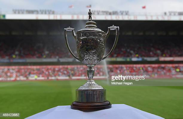 The Brian Clough Trophy on display during the Sky Bet Championship match between Nottingham Forest and Derby County at the City Ground on September...