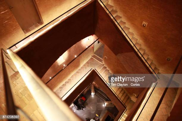 The bricked stairwell of The Hotel Palazzetto Rosso a historic building completely made of bricks which most likely hosted travelers during the...
