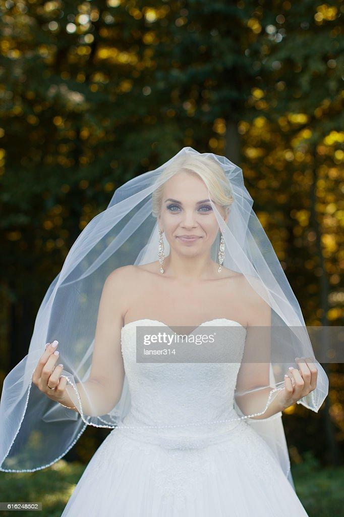 The bride with a bunch of closeup : Foto de stock