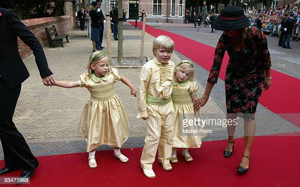 The bridesmaid's children arrive prior to the church wedding of Prince Pieter Christiaan and Anita van Eijk at 'Jeroenskerk' Church on August 27 2005...