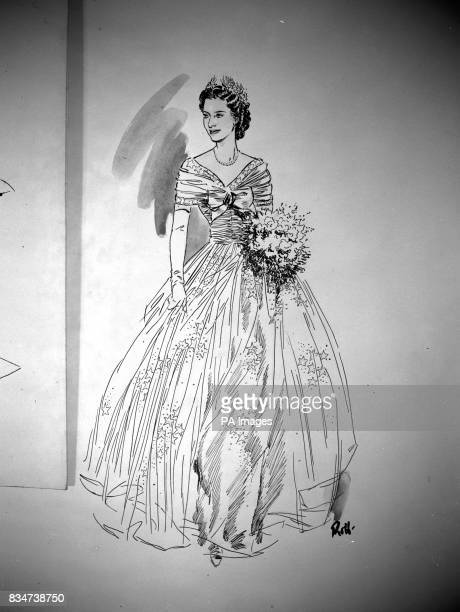 The Bridesmaid's dresses designed by Norman Hartnell for the wedding of Princess Elizabeth and Lieut Phillip Mountbatten RN It is a diaphanous gown...
