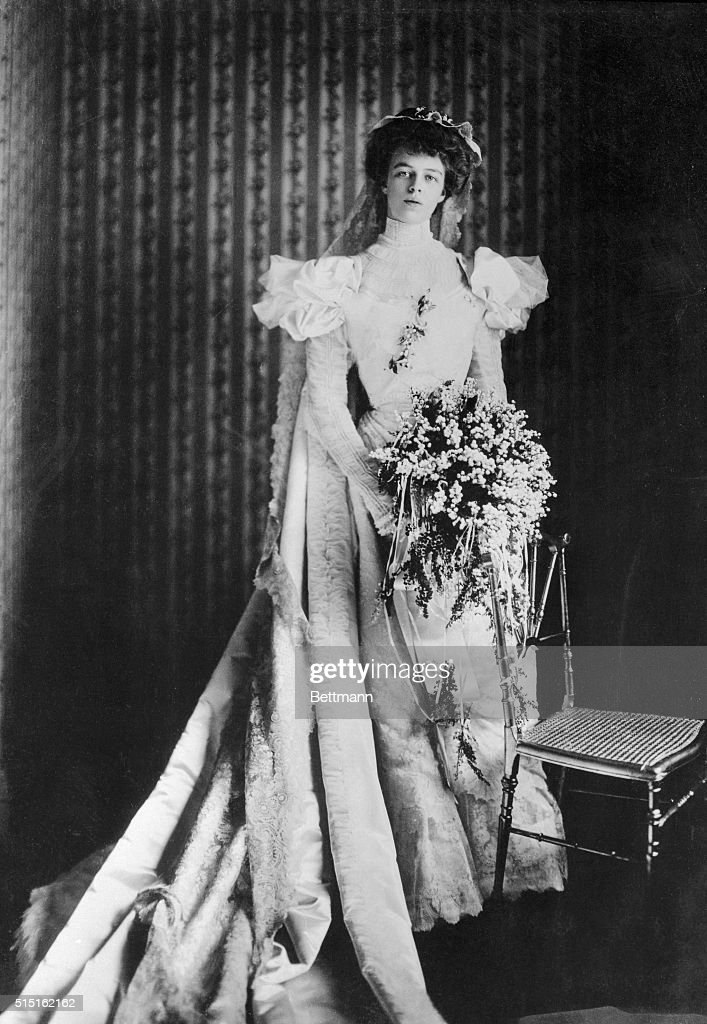 'The bridesmaids were dressed in cream taffeta with three feathers in their hair' writes Mrs Franklin D Roosevelt in her autobiography 'This Is My...