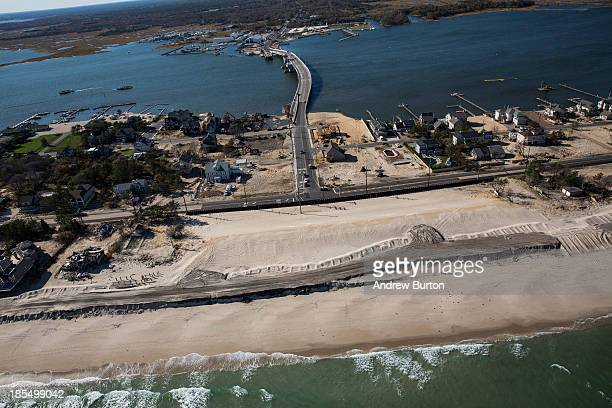The bridge connecting mainland New Jersey to the barrier islands sits reconstructed after being destroyed by Superstorm Sandy in October 2012 on...