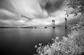 This is an infrared long exposure photograph taken next to Columbia river.