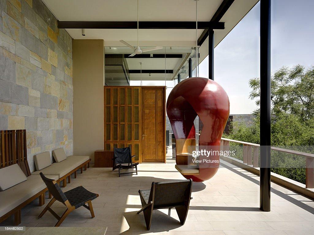 The Bridge House, Baroda, India, 2011, Anekit Bagwat, Landscape India-Iving Room Area With Hanging Double Swing Seat, Anekit Bagwat, Landscape India, India, Architect,