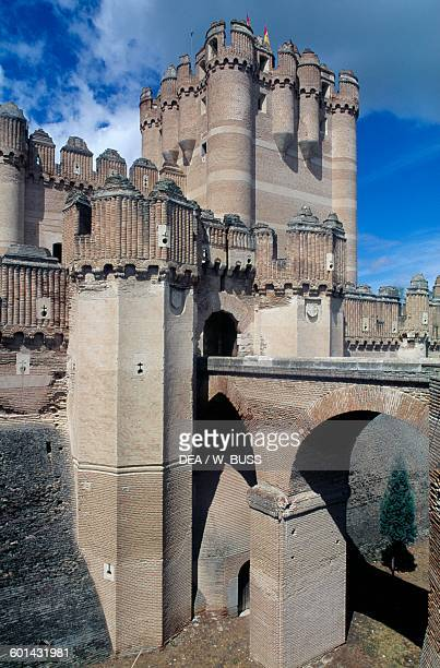 The bridge leading to Coca castle Castile and Leon Spain 15th century