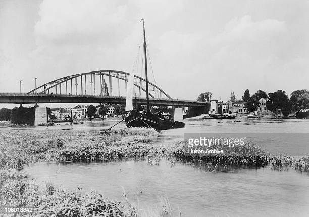 The bridge over the Rhine at Arnhem Netherlands circa 1943 The bridge was destroyed by aerial bombing after the Battle of Arnhem in 1944