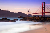 Golden Gate from Baker beach in the sunset
