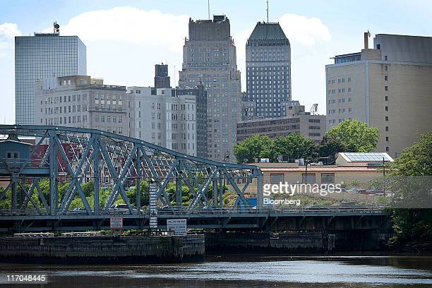 The Bridge Street Bridge Passaic River and Newark skyline are seen from Harrison New Jersey US on Wednesday June 15 2011 New Jersey's economic...