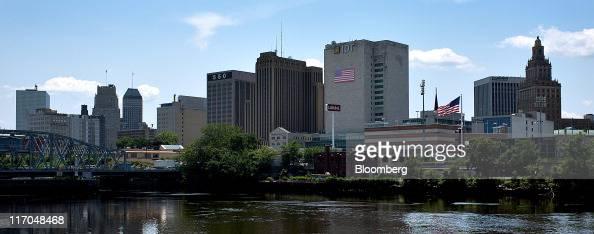 The Bridge Street Bridge Passaic River and Newark skyline are seen from Harrison New Jersey US on Wednesday June 15 2011 New Jersey's economic...