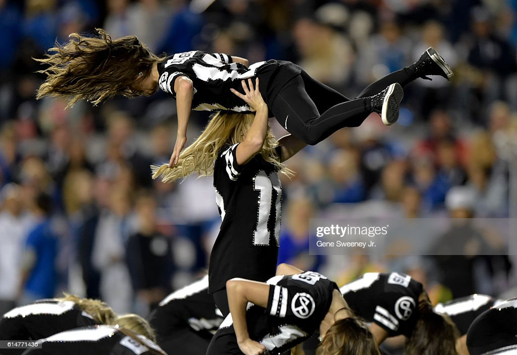 The Brigham Young Cougars dance team performs during the game between the Mississippi State Bulldogs and the Cougars at LaVell Edwards Stadium on October 14, 2016 in Provo Utah.
