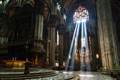 The Bright Beam of Light Inside Milan Cathedral, Italy