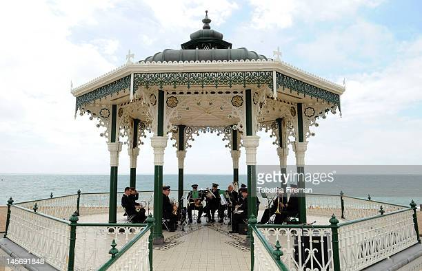 The Brighton and Hove Salvation Army bands perform during the Queen's Diamond Jubilee celebrations at the Brighton bandstand on June 3 2012 in...