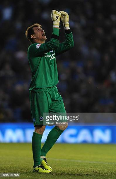 The Brighton Hove Albion goalkeeper Tomasz Kuszczak reacts after score a 2nd goal during the Sky Bet Championship Play Off semi final first leg match...