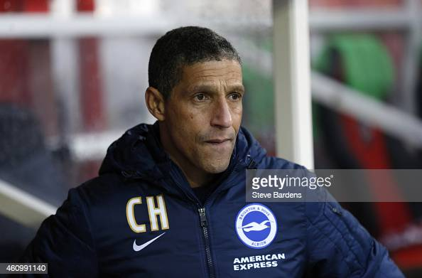 The Brighton Hove Albion manager Chris Hughton prior to the FA Cup Third Round match between Brentford v Brighton Hove Albion at Griffin Park on...