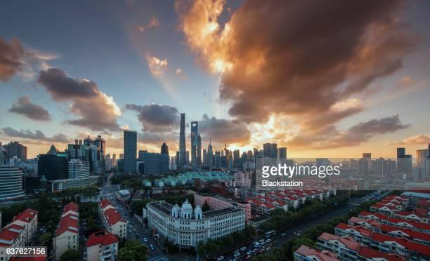 the brilliant sunset in Shanghai